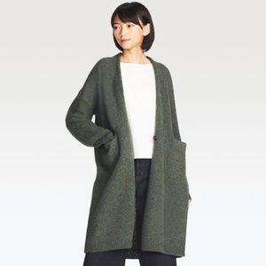 Uniqlo Gray Wool Button Front Cardigan